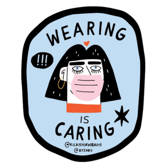 Wearing is Caring Sticker, Pack of 100