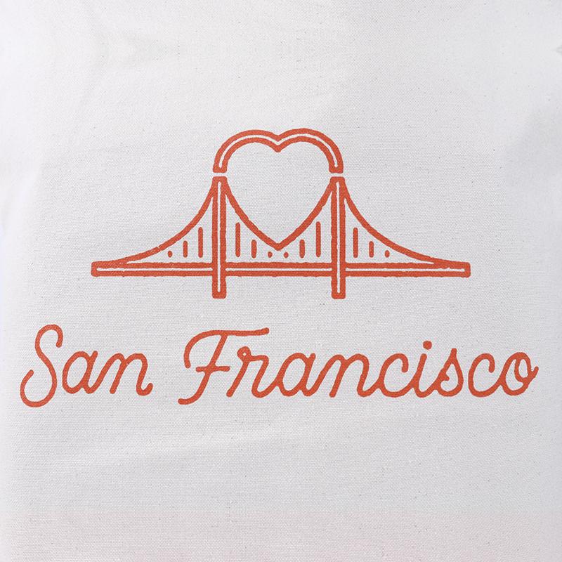 Canvas SF Heart Bridge Grocery Tote